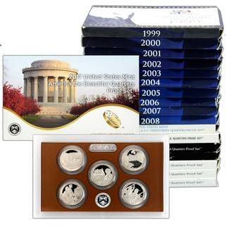 1999 - 2017 Proof Clad Quarter Sets