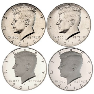 2016 P, D, S Clad Proof & Silver Proof Kennedy Half Dollars