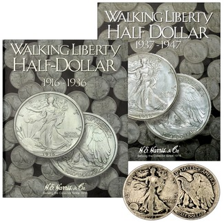 1923-1947 Circulated Walking Liberty Silver Half Dollar Set in Album