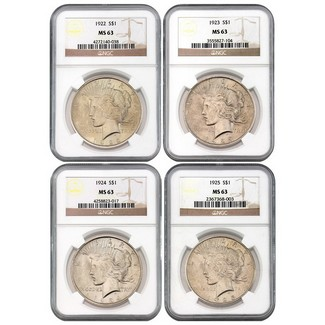 4 Different Peace Dollars NGC MS63 Brown Label