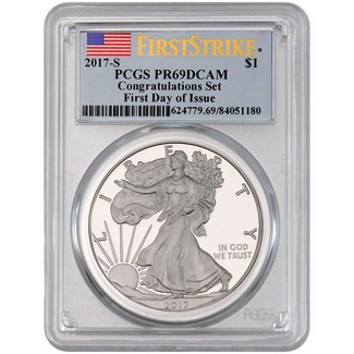 2017 S Silver Eagle Congratulations Set PCGS PR69 DCAM FDI FS Flag Label