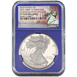2016 W Silver Eagle 30th Ann. Lett. Edge NGC PF70 UC Congrats Set Serial #4558711-088