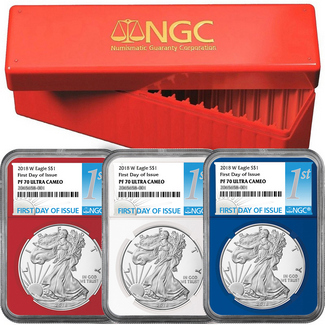 2018 Red, White & Blue Proof Silver Eagles NGC PF70 UC 1st Day