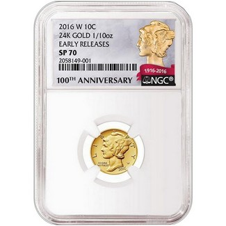 2016 W 1/10th oz Gold Mercury Dime NGC SP70 ER
