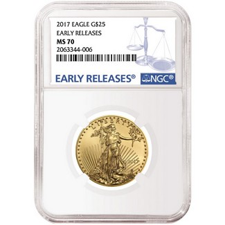 2017 $25 Gold Eagle NGC MS70 ER Blue Label