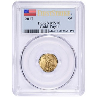 2017 $5 Gold Eagle PCGS MS70 First Strike Label