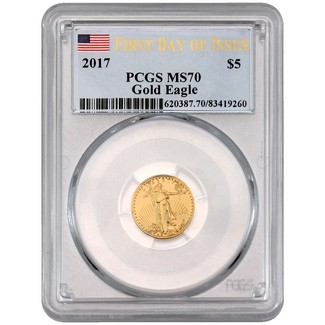 2017 $5 Gold Eagle PCGS MS70 First Day of Issue Flag Label