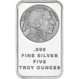 5 oz. .999 Silver Bar Buffalo Logo