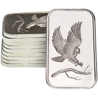 10pc Eagle Design 1oz Silver Bars