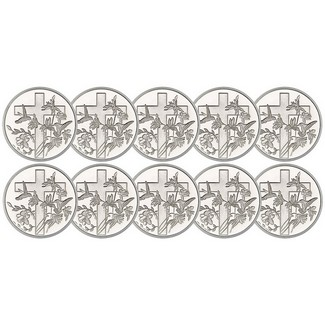 Religious Cross 1 Ounce .999 Silver Rounds 10 Count