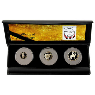 2017 Comanche Indian 3pc Hand Struck Gold Fractional Coin Set '1 of 1st 40 Struck'