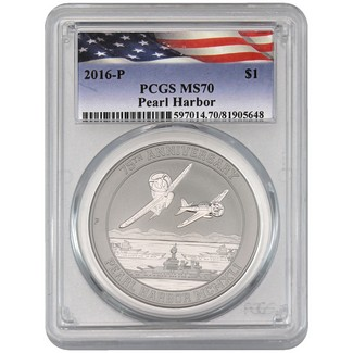 75th Anniversary Pearl Harbor 1 oz. 99.99% Silver PCGS MS70