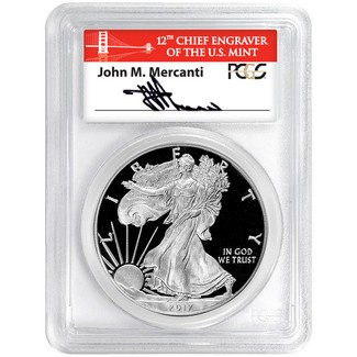2017 S 'Limited Edition Set' Silver Eagle PCGS PR70 DCAM Red Bridge Label 1st Day Issue Mercanti Sig
