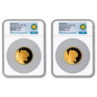 Barber's 1877 $50 Half-Union Pattern 1/2oz. Gold  2pc Smithsonian Proof Set NGC PF70 UC