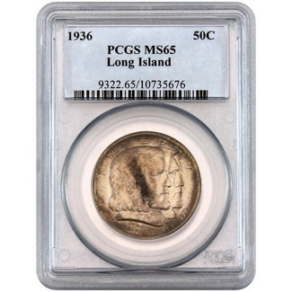 1936 Long Island Commen Half Dollar PCGS MS-65