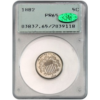 1882 Proof Shield Nickel PCGS PR-65 (CAC)