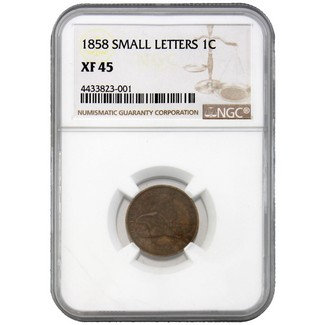 1858 (Small Letters) Flying Eagle Cent NGC XF-45
