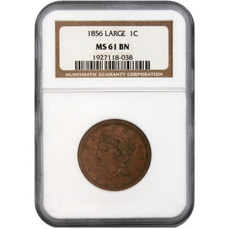 1856 Large Cent NGC MS-61 BN