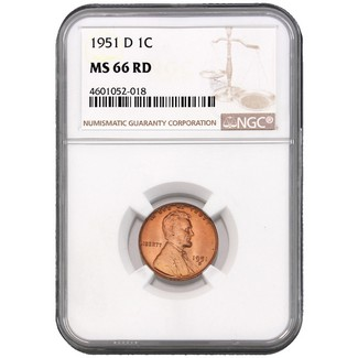 1951-D Lincoln Cent NGC MS-66 RD