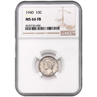 1940 Mercury Dime NGC MS-66 FB