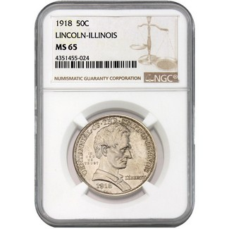 1918 Illinois (Lincoln) Commem Half Dollar NGC MS-65