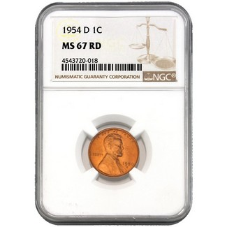 1954-D Lincoln Cent NGC MS-67 RD