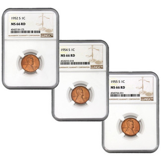 S-Mint Lincoln Cent Special (1952-S, 1954-S & 1955-S) NGC MS-66 RD