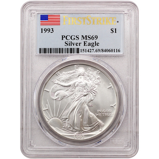 1993 Silver Eagle PCGS MS69 First Strike - population just 700!