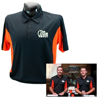 Coin Vault Logo Side Blocked Micropique Sport-Wick® Coaches Polo Shirt Black/Orange Extra Large