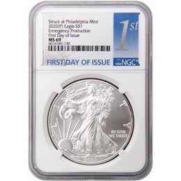 2020 (P) Struck at Philadelphia Silver Eagle 'Emergency Production' NGC MS69 FDI 1st Label
