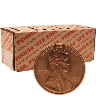 1995 P Brilliant Uncirculated Lincoln Cent Roll- 50 count box