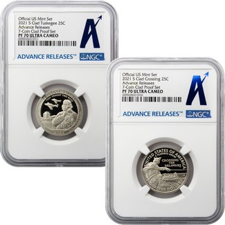 2021 S Clad Quarter Proof Set NGC PF70 Ultra Cameo Advance Releases
