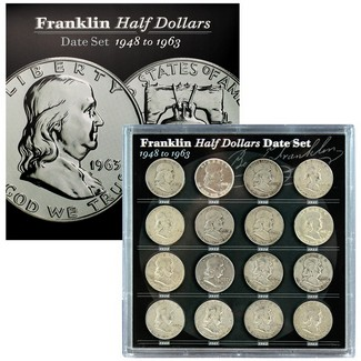 Franklin Half Dollar Date Set in Acrylic Holder