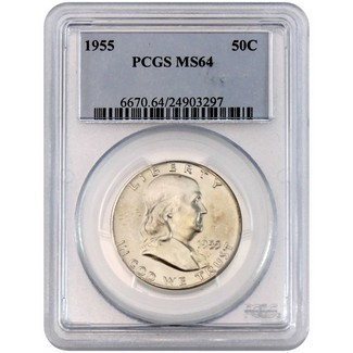 1955 Franklin Half Dollar PCGS MS-64