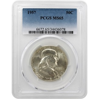 1957 Franklin Half Dollar PCGS MS-65