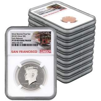 2018 San Francisco Mint Silver Reverse Proof Set NGC PF69 Early Releases Trolley Label