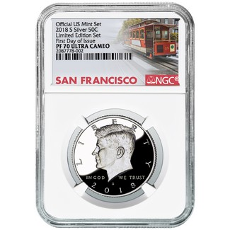 2018 S 'Limited Edition Set' Kennedy Half NGC PF70 Ultra Cameo First Day Issue Cable Car Label