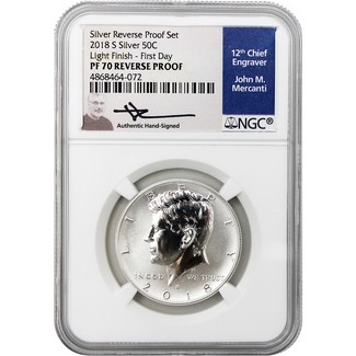 2018 S Kennedy Silver Reverse Proof Half Dollar NGC PF70 Light Finish FDI Mercanti Signed