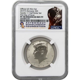 2019 S Kennedy (Half Dollar Set) 50th Ann. Apollo 11 NGC PF70 Enhanced Reverse Proof FDI ASF Label
