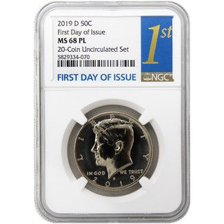 2019 D Kennedy Half Dollar (FROM 20 COIN UNC SET) NGC MS68 PL FDI 1st Label