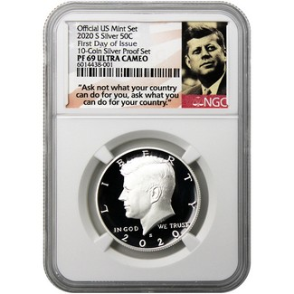 "2020 S Silver Kennedy Half Dollar NGC PF69 UC FDI from 10-Coin Silver Proof Set ""Ask Not"" Label"