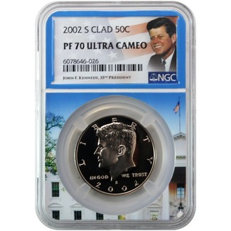 2002 S Clad Kennedy Half Dollar NGC PF70 Ultra Cameo Portrait Label/White House Core