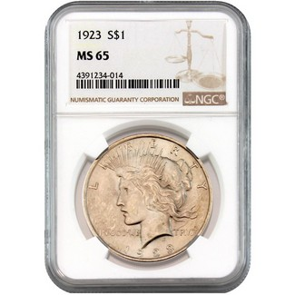 1923 Silver Peace Dollar NGC MS-65