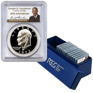 1971-1978 Eisenhower Dollar Set PCGS PR69 DCAM 40TH Ann Ike Labels