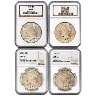 4 Different Peace Dollars NGC MS64 Brown Label