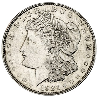 1921 D Morgan 90% Silver Dollar in VG/VF condition