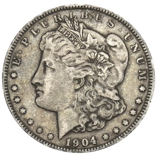 1904 P Morgan 90% Silver Dollar in VG/VF condition