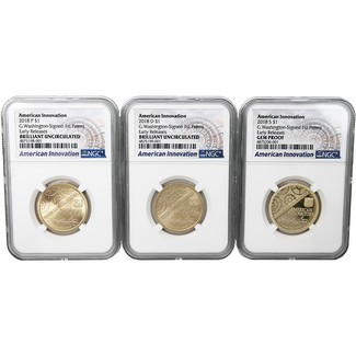 2018 American Innovation Dollar Series 3 Coin Set NGC ER American Innovation Series Label