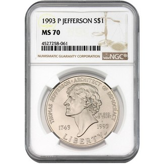 1993 P Jefferson Commem Dollar NGC MS70