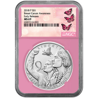 2018 $1 Silver Breast Cancer Awareness Commem. NGC MS69 Pink Core ER